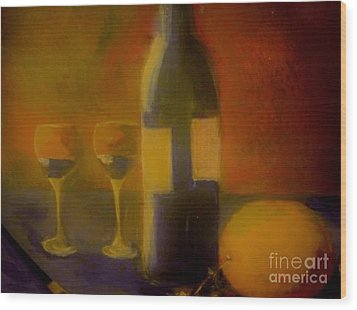 Wood Print featuring the painting Painting And Wine by Lisa Kaiser