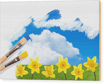 Painting Daffodils Wood Print by Amanda Elwell