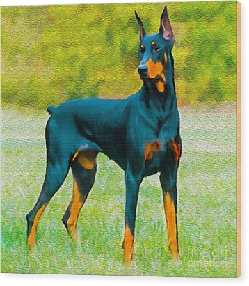 Painting Doberman Pincher Wood Print by Bob and Nadine Johnston