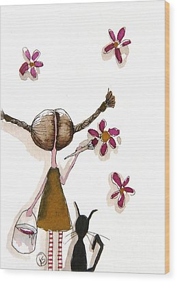 Painting Flowers Wood Print by Lucia Stewart