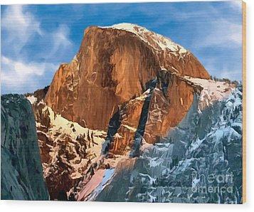 Painting Half Dome Yosemite N P Wood Print by Bob and Nadine Johnston