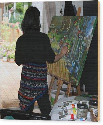 Painting My Backyard 1 Wood Print by Becky Kim