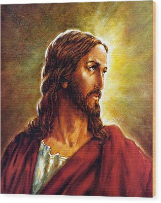 Painting Of Christ Wood Print by John Lautermilch