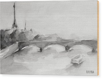 Painting Of Paris Bridge On The Seine With Eiffel Tower Wood Print by Beverly Brown