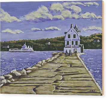 Rockland Breakwater Lighthouse In Maine Wood Print