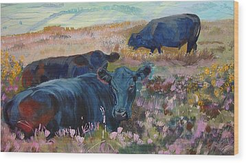 Painting Of Three Black Cows In Landscape Without Sky Wood Print