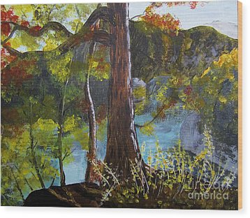 Painting Of Tree Of Golden Light Wood Print by Judy Via-Wolff