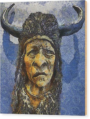 Painting Of Wood Spirit Carving Native American Indian Wood Print by Teara Na