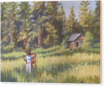 Painting Plein Aire In Idaho Wood Print by Harriett Masterson