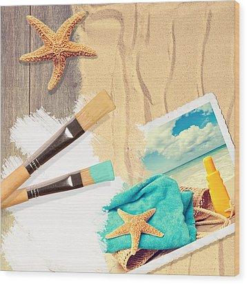 Painting Summer Postcard Wood Print by Amanda Elwell