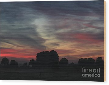 Painting Sunrise By Nature Wood Print