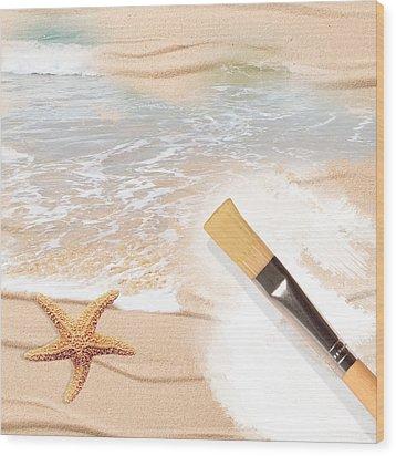 Painting The Beach Wood Print by Amanda Elwell