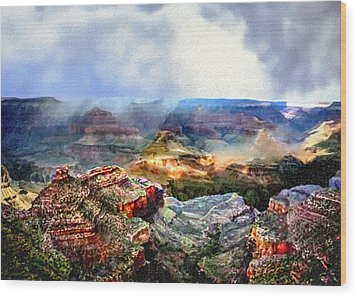 Painting The Grand Canyon Wood Print by Bob and Nadine Johnston