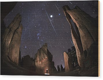 Painting The Needles Under The Geminids Meteor Shower Wood Print
