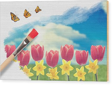 Painting Tulips Wood Print by Amanda Elwell