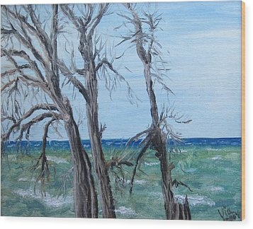 Wood Print featuring the painting Painting - Waiting For Spring - Lake Ontario by Judy Via-Wolff
