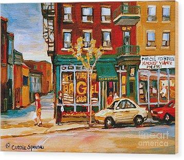 Paintings Of  Famous Montreal Places St. Viateur Bagel City Scene Wood Print by Carole Spandau