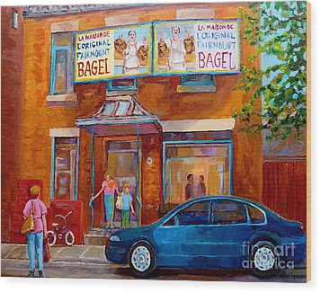Paintings Of Montreal Fairmount Bagel Shop Wood Print by Carole Spandau