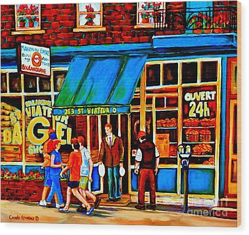 Paintings Of Montreal Memories Bagel And Bread Shop St. Viateur Boulangerie Depanneur City Scenes Wood Print by Carole Spandau