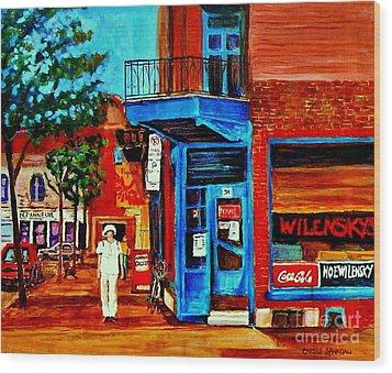 Paintings Of Montreal Memories Moe Wilenskys Famous Corner Deli  Montreal Spring City Scene Wood Print by Carole Spandau