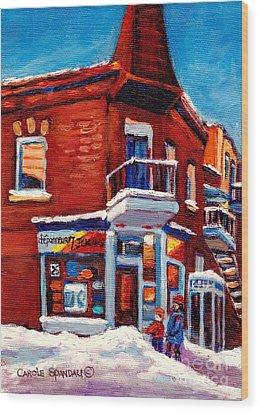 Paintings Of Verdun Depanneur 7 Jours Montreal Winter Street Scenes By Carole Spandau Wood Print by Carole Spandau