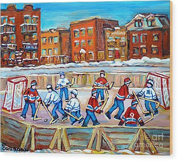 Paintings  Verdun Rink Hockey Montreal Memories Canadiens And Maple Leaf Hockey Game Carole Spandau Wood Print by Carole Spandau