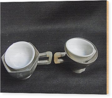 Pair Of Chinese Pewter Tea Cups With Side Inscription Wood Print by Anonymous