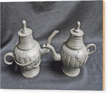 Pair Of Decorated Pewter Teapots Wood Print by Anonymous