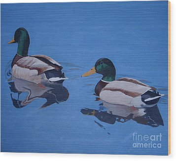 Pair Of Mallards Wood Print