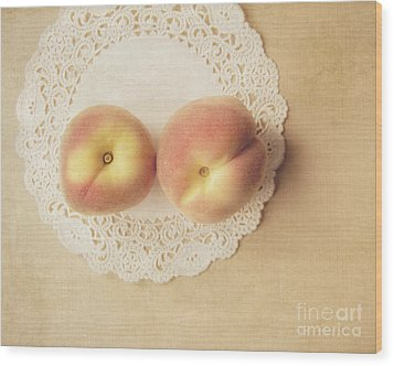 Pair Of Peaches Wood Print by Jillian Audrey Photography