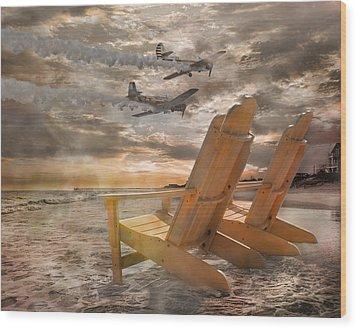 Pairs Along The Coast Wood Print by Betsy Knapp
