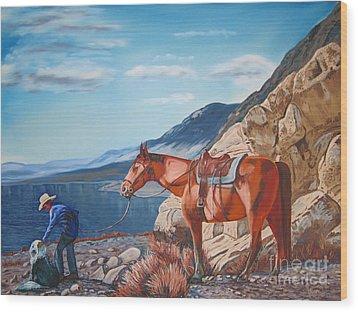 Paiute Boy At Walker Lake Wood Print by Joseph Juvenal