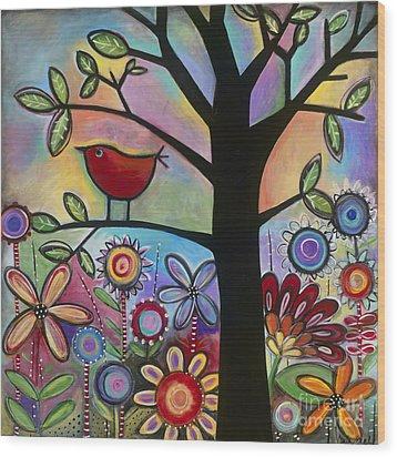Pajaro Loco Wood Print by Carla Bank
