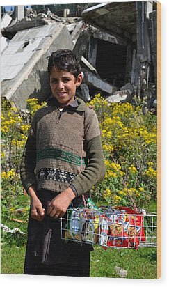 Wood Print featuring the photograph Pakistani Boy In Front Of Hotel Ruins In Swat Valley by Imran Ahmed