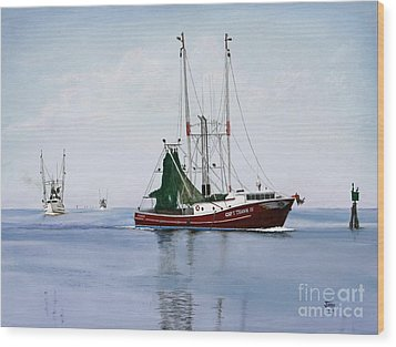 Wood Print featuring the painting Palacios Boats by Jimmie Bartlett