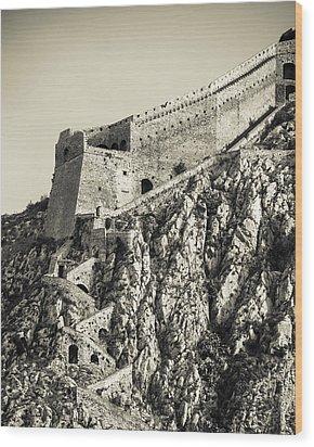 Palamidi Fortress Stairs Wood Print by David Waldo