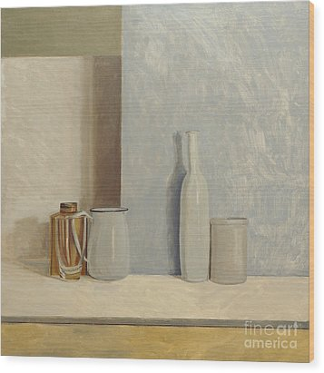 Pale Grey And Blue  Wood Print by William Packer