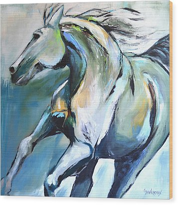 Pale Horse Wood Print by Cher Devereaux