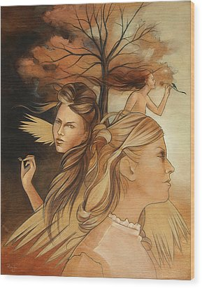 Pale Moonlight Mysticism Wood Print by Jacque Hudson