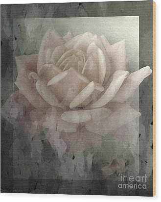 Pale Rose Photoart Wood Print by Debbie Portwood