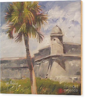 Palm At St. Augustine Castillo Fort Wood Print
