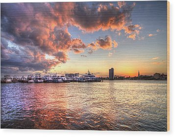 Palm Beach Harbor With West Palm Beach Skyline Wood Print by Debra and Dave Vanderlaan