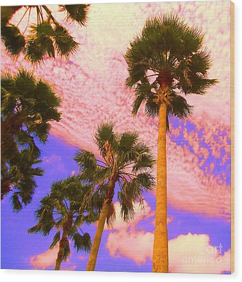Palm In The Clouds Wood Print by Ann Johndro-Collins