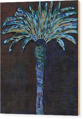 Palm On Purple  Wood Print by Oscar Penalber