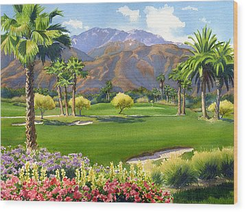Palm Springs Golf Course With Mt San Jacinto Wood Print by Mary Helmreich