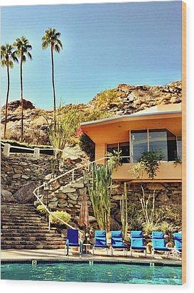 Palm Springs Pool Wood Print by Julie Gebhardt