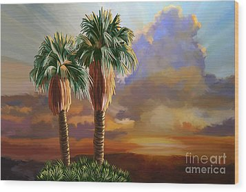 Wood Print featuring the painting Palm Tree Cabo Sunset by Tim Gilliland
