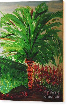 Palm Tree In The Garden Wood Print by Marie Bulger