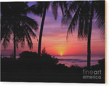 Palm Tree Sunset In Paradise Wood Print by Scott Cameron