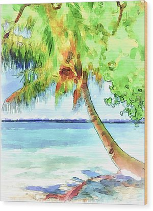 Palm Tree Wood Print by Yury Malkov